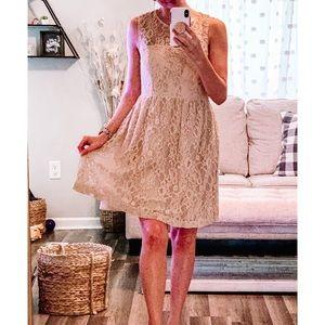 ZARA woman beige lace overlay dress
